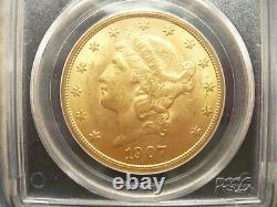 1907 $20 GOLD Liberty Head, DOUBLE EAGLE, PCGS MS62 GRADED a Saint Gaudens