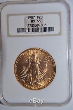 1907 $20 Gold Dollar Double Eagle Saint Gaudens NGC MS-63