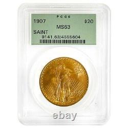 1907 $20 Gold Saint Gaudens Double Eagle Coin PCGS MS 63