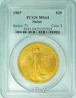 1907 $20 Gold St Gaudens Double Eagle PCGS MS64