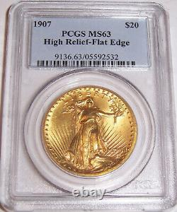 1907 $20 High Relief Flat Edge St Gaudens Gold Double Eagle PCGS MS63