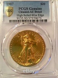 1907 $20 High Relief Saint-Gaudens Double Eagle, Wire Edge, PCGS AU Detail