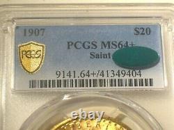 1907 $20 PCGS MS64+ PLUS GOLD Shield CAC SAINT GAUDENS DOUBLE EAGLE