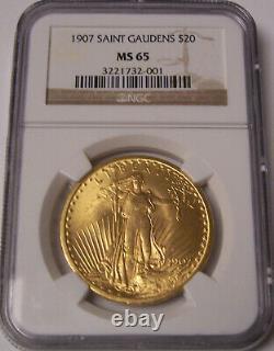 1907 $20 Philadelphia Saint Gaudens Gold GEM Double Eagle NGC MS65