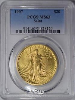1907 $20 Saint Gaudens Gold Double Eagle Brilliant Uncirculated Pcgs Ms63