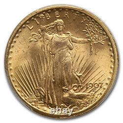 1907 $20 Saint-Gaudens Gold Double Eagle MS-64+ PCGS CAC SKU#175786