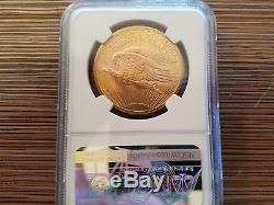 1907 $20 Saint-Gaudens Gold Double Eagle MS-65 NGC- RARE DATE NO MOTTO