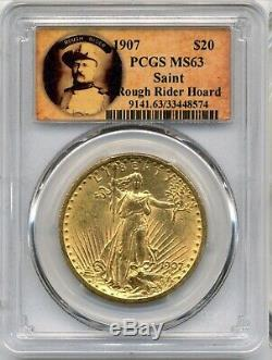 1907 $20 Saint Gaudens Gold Double Eagle PCGS MS63 First Year Of Issue PQ+