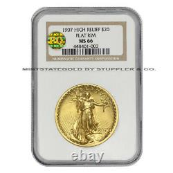 1907 $20 Saint Gaudens NGC MS66 High Relief Flat Rim PQ Approved Double Eagle