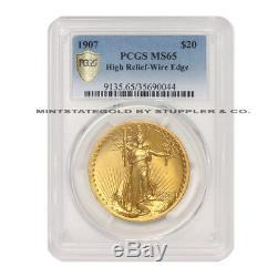 1907 $20 Saint Gaudens PCGS MS65 High Relief Wire Edge/Rim Gold Double Eagle Gem