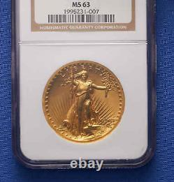 1907$20 St. Gaudens Double Eagle Gold Coin NGC MS63 HIGH RELIEF Wire Rim. VERY PQ+