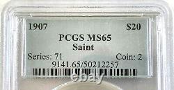 1907 $20 St. Gaudens Gold Double Eagle No Motto PCGS MS65