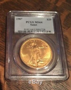 1907 $20 St. Gaudens Gold Double Eagle PCGS MS64