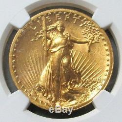1907 Gold $20 Saint Gaudens High Relief Double Eagle Wire Rim Ngc Mint State 63