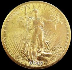 1907 Gold USA $20 Saint Gaudens No Motto Double Eagle