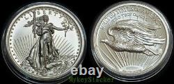 1907 High Relief St Gaudens $20 Gold Double Eagle2 oz Silver. 999 MCMVII Round