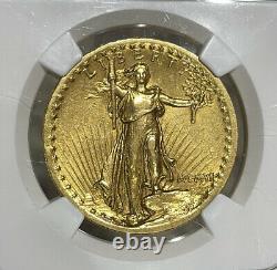 1907 NGC AU53 High Relief Flat Rim $20 Gold Saint Gaudens Double Eagle
