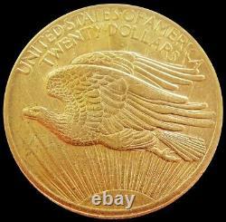 1907 No Motto Gold USA $20 Dollar Saint Gaudens Double Eagle Coin About Unc