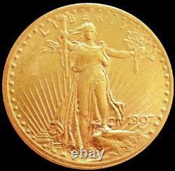 1907 No Motto Gold USA $20 Dollar Saint Gaudens Double Eagle Coin Au