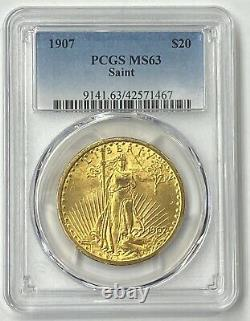 1907-P $20 Saint Gaudens Gold Double Eagle Pre-33 PCGS MS63 Amazing 1st Year