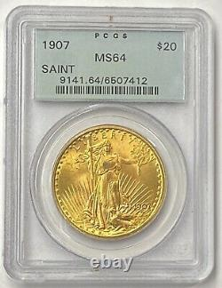 1907-P $20 Saint Gaudens Gold Double Eagle Pre-33 PCGS MS64 Old Holder 1st Year