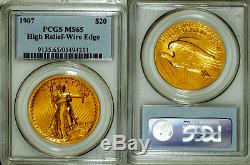 1907 PCGS MS65 High Relief (Wire) $20 Saint Gaudens Gold Double Eagle