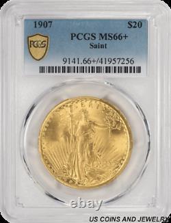 1907 Saint Gaudens $20 Gold Double Eagle PCGS MS66+ Super Frosty Cartwheel Lus