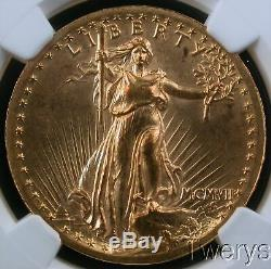 1907 Saint Gaudens Gold $20 High Relief Double Eagle Wire Rim Ngc Ms 63