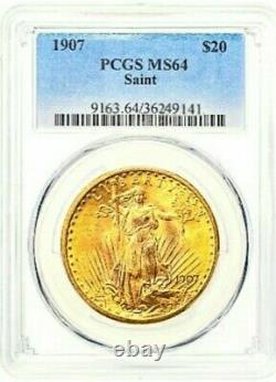 1907 St. Gaudens Gold $20 Double Eagle PCGS MS64 Vibrant catches the eye