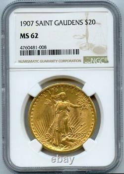 1907 Twenty Dollar $20 Saint Gaudens Double Eagle NGC MS 62