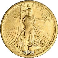 1907 US Gold $20 Saint-Gaudens Double Eagle 1907 No Motto Almost Uncirculated