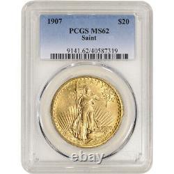 1907 US Gold $20 Saint-Gaudens Double Eagle PCGS MS62