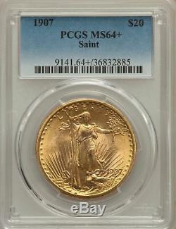 1907 US Gold $20 Saint Gaudens Double Eagle PCGS MS64+