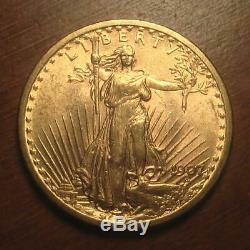 1907 withNo Motto Gold $20 Saint Gaudens Double Eagle Coin BU First Year (#123)