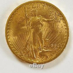 1908 $20 American Gold Double Eagle Saint Gaudens-No Motto