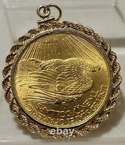1908 $20 Gold Double Eagle St Gaudens with14kt bezel 8.18 grams