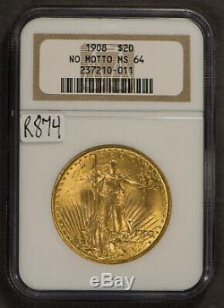 1908 $20 Gold ST SAINT GAUDENS DOUBLE EAGLE NO MOTTO NGC MS 64 Lot#R874