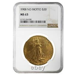 1908 $20 Gold Saint Gaudens Double Eagle Coin No Motto NGC MS 63