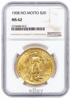 1908 $20 Gold Saint-Gaudens Double Eagle No Motto NGC MS62 SKU37789