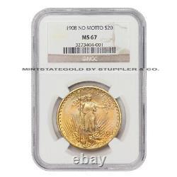1908 $20 Gold Saint Gaudens NGC MS67 NM Gem coin no motto double eagle