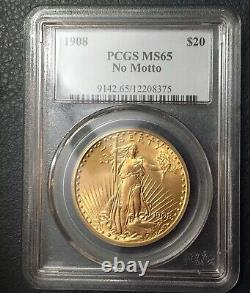 1908 $20 Gold Saint Gaudens No Motto PCGS MS65 double eagle coin Beautiful