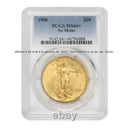 1908 $20 Gold Saint Gaudens PCGS MS66+ NM No Motto Double Eagle Philadelphia