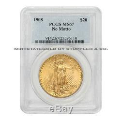 1908 $20 Gold Saint Gaudens PCGS MS67 NM No Motto Double Eagle Philadelphia Coin