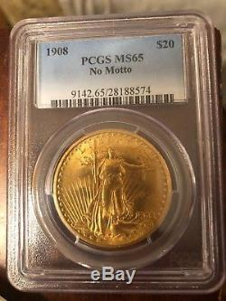 1908 $20 Gold St Gaudens Double Eagle PCGS MS65 No Motto SUPER CLEAN COIN