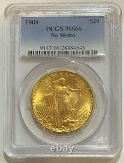 1908 $20 MS-66 PCGS Gold Double Eagle Saint Gaudens Coin No Motto
