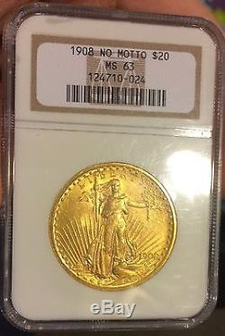 1908 $20, Ms63 St Gaudens Double Eagle, U. S. No Motto Ngc Certified Beauty