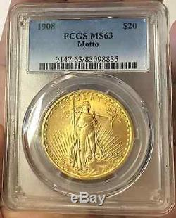 1908 $20, Ms63 St Gaudens Double Eagle With Motto Pcgs Certified Very Rare