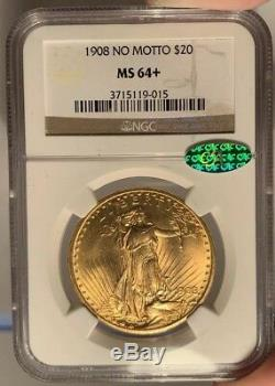 1908 $20 NGC MS 64+ CAC St. Gaudens Gold Double Eagle