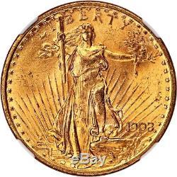 1908 $20 NGC MS65 (No Motto) Saint Gaudens Double Eagle Gold Coin