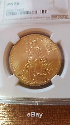 1908 $20 Ngc Ms 66 No Motto Saint Gaudens Double Eagle Beauty-sharply Struck